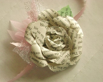 wrist corsage with tulle made from vintage book pages recycled alternative wedding prom formal