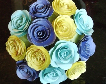 "The Veronique bouquet  2"" spiral paper roses yellow aqua  periwinkle blue alternative bridal bouquet wedding toss rehearsal decorations"
