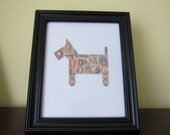 Postage Stamp Art - Dog - Used Postage Stamps - Framed Postage Stamp Art - Wall Art - puppy, dog