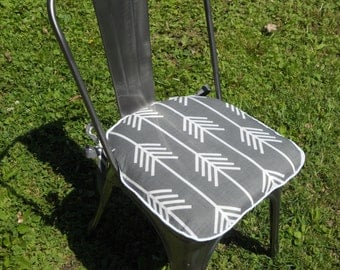 Arrows Gray and White Chair Pad- 2 inch foam - Made To Fit Chair Pad - Arrows, Grey and White, knife edge, chair pad - 22 L X 22 W.
