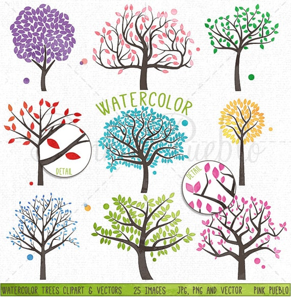 Wedding Tree Watercolor Clipart: Watercolor Tree Silhouettes Clipart Clip Art Family Tree