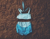Cake Smash Outfit One Year Old Girl Bikini Cake Smash Set Turquoise Polkadots II