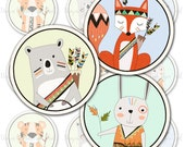 Cute Woodland Tribal Animal Cupcake Topper or Party Stickers - Print your own