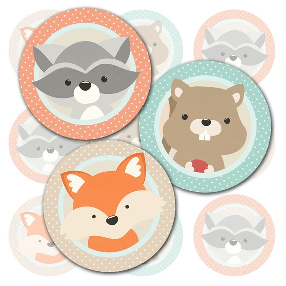 Woodland Animals Cupcake Topper or Party Stickers, 2 inch ...