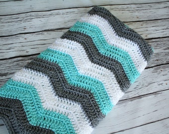 Baby Blanket, Crochet Chevron Baby Blanket, Grey Blue and Teal Chevron Blanket, Customize your Color Blanket by JoJo's Bootique
