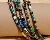 Multicolor Set of FIVE Cloisonne Bracelets #3 Size 7.5 Inches Each
