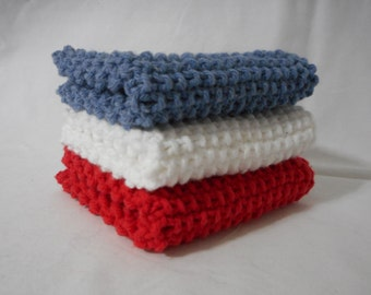 Handmade Knitted Dish Cloth, Knitted Washcloth, Spa Washcloth, Knitted Dishcloth, 100% Cotton, Eco-Friendly, Red White and Blue