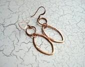 Copper Loop Earrings, Free US Shipping