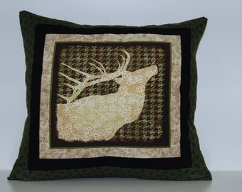 Mountain View Pillows, Rustic Cabin Decor, Elk