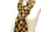 Geometric Print Rectangle Scarf, Black & Tan Silky Scarf, Lightweight Scarves