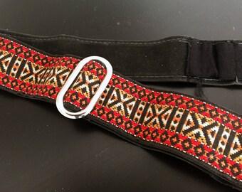 Vintage Hippie Pattern SLR Camera Strap Photography Red with Black Velvet