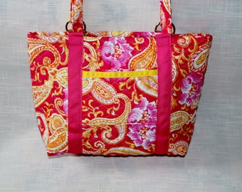 Pink paisley quilted tote, small
