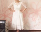 Short Linda wedding dress-tea length custom A-line boat sweetheart neck with fully covered lace back-city hall wedding dress-made to order