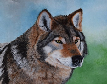 Wildlife Painting:  The Timber Wolf - original painting, nature, wildlife, dog, wolf, gray wolf, forest, wolf portrait