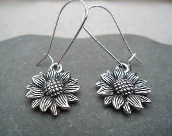 Silver Sunflower Earrings - Silver Dangle Earrings - Flower Earrings - Simple Everyday Jewelry