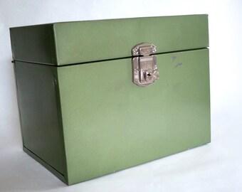 Vintage Olive Green Metal File Box,  Industrial Metal Storage Box w Key,  Hamilton Skotch Metal Porta File Desk Top Storage, MCM Office