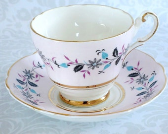 Vintage Tea Cup and Saucer in Pastel Pink  /  Pastel Pink Regency Teacup and Saucer  /  Pink English Teacup Set