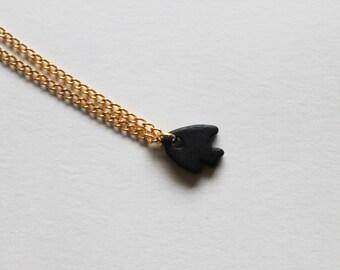 tiny black fish -necklace (black ceramic fish charm and gold plated chain minimal discreet neckpiece)