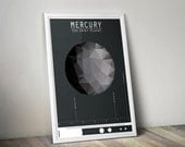 Mercury // Human Space Exploration Infographic Print with Planetary Mission Timeline // Black and Gray Low Poly Illustration