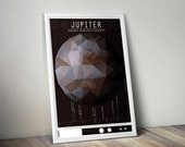 Jupiter and its Moon // Human Space Exploration Infographic Print with Planetary Mission Timeline // Maroon and Brown Low Poly Illustration