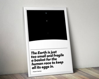 Earth, a Fragile Basket for Humanity \\ Robert Heinlein Typographic Quote Poster \\ Science Fiction and Astronomy Inspired Print