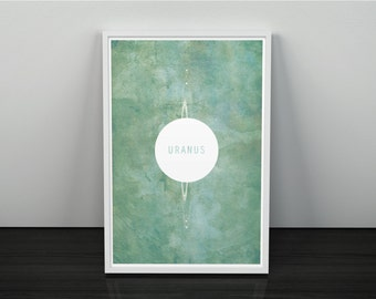 Uranus and its Moons // Vintage Inspired, Minimalist Planetary Science Print // Sea Green Textured or Clean Print with Planet Graphic