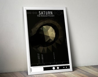 Saturn and its Moons // Human Space Exploration Infographic Print with Planetary Mission Timeline // Tan and Gray Low Poly Illustration