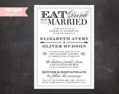 INSTANT DOWNLOAD - Photoshop Templates - Eat Drink & Be Married Wedding Invitation