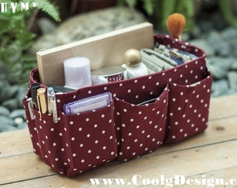 Purse ORGANIZER insert / Bag Organizer / Extra Sturdy / Burgundy White Dots / Medium 22x8cm