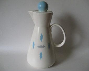 Steubenville USA Cotillion mid century modern ceramic pottery teapot blue grey on cream