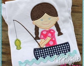 Fishing Boat Girl Applique Design Ric Rac