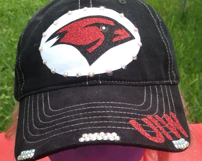 Cardinals College Sports Rhinestone Bling, Women's Baseball Trucker Cadet Cap, UIW College Cap, Personalized Womens Cap, Embellished Hat