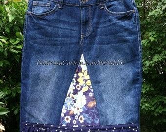 Katy Heart Ruffle flower denim skirt Custom to your size Jean Skirt size 0 2 4 6 8 10 12 14 16 18 20 22 24 26