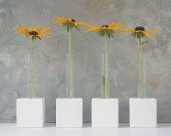 Bud Vases with test tubes, SET of Four, MADE to ORDER, small for single flower, flower vase, white, Custom Order, Two Options