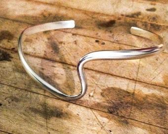 Wave Cuff Bracelet, Sterling Silver, Hand Formed, Ocean Inspired, Beach, Summer Bracelet