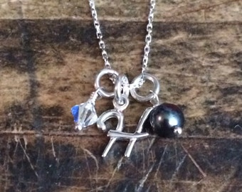 Initial Necklace, Bridesmaid Jewelry, Hand Made, Sterling Silver