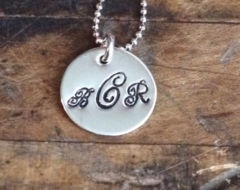 Monogram Necklace, Initial Necklace, Hand Stamped Necklace, Sterling Silver Necklace