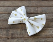 Hair Bow Vintage Inspired Creme with Gold Metallic Arrows Clip Rockabilly Pin up Teen Woman