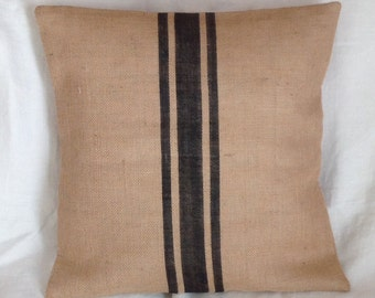 Burlap Grain Sack Pillow Black Striped Textured Accent Pillow Cover by sweet janes plan