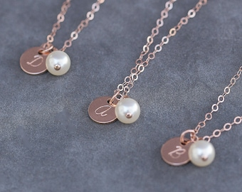 Rose Gold Initial Necklace, Set of 4 Bridesmaid Gifts, Personalized Jewelry, Pearl & Rose Gold Cursive Letter Necklace, Handstamped Jewelry