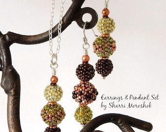 Beaded Necklace and Earrings Set - beaded beads by Sharri Moroshok - copper and olive green