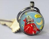 Robby the Robot Keychain Vintage Toy Science Fiction Sci Fi Key Chain Key Fob Car Accessories