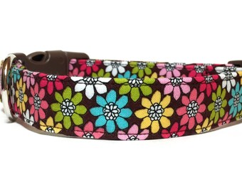 Flower Dog Collar / Daisy Flower Dog Collar / Girl Dog Collar / Floral Dog Collar / Pink Brown Dog Collar / Collar with flowers