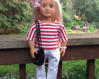 18 Inch Doll Clothes, Red and White Pants, Shirt Outfit for doll like American Girl, girls gift, girls toy
