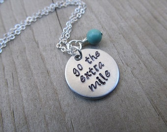 "Inspiration Necklace- ""go the extra mile"" with an accent bead in your choice of colors- Hand-Stamped Jewelry"