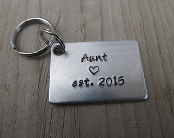 """Gift for Aunt- Keychain- Aunt's Keychain """"Aunt est. (year of choice)"""" with stamped heart-  Hand-Stamped Keychain by Jenn Stewart"""