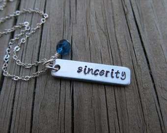 "Sincerity Necklace-brushed silver rectangle with ""sincerity"" and an accent bead of choice- Personalized Gift"