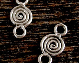2 Sterling Silver Links or  Connectors -  Little Spirals 13.3mm Long - Oakhill Silver Supply  L53