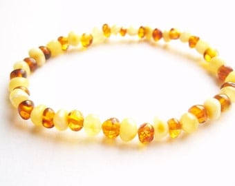 Cognac and White Genuine BALTIC  AMBER  BRACELET  7.1 inches.