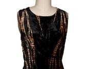 Grunge 90s  does  30s Sleeveless  Crushed Velvet Black Tie Dyed dress